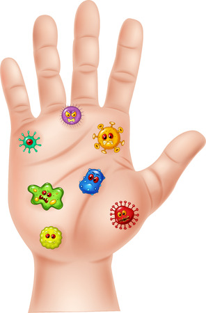 Vector illustration of dirty hand with germ