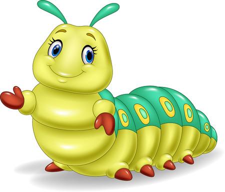 Vector illustration of Cute caterpillar presenting