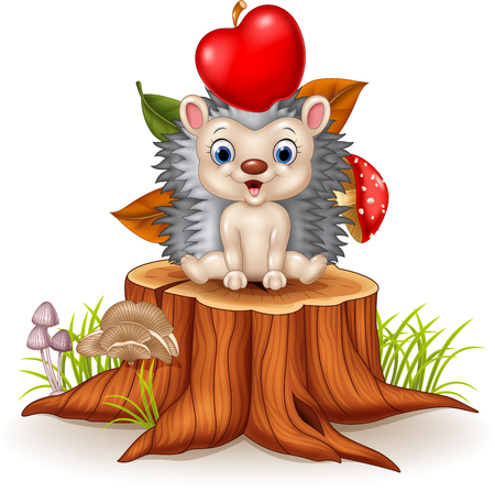bristles: Vector illustration of Happy Little hedgehog sitiiing on tree stump