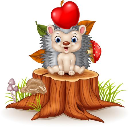 Vector illustration of Happy Little hedgehog sitiiing on tree stump