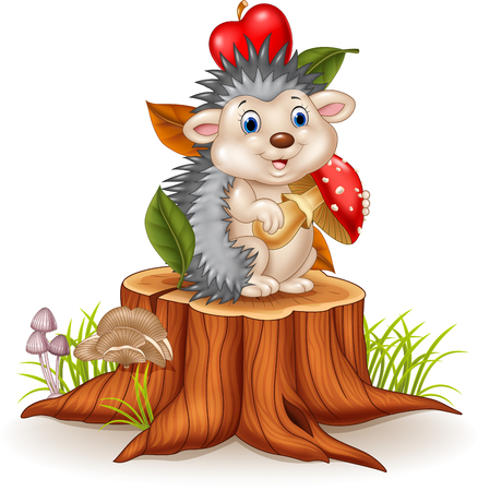 Vector illustration of Little hedgehog holding mushroom on tree stump