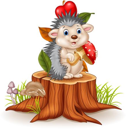 Vector illustration of Little hedgehog holding mushroom on tree stump