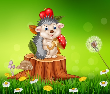 hedgehog: Vector illustration of Cartoon funny hedgehog sitting on tree stump