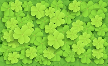 dew drop: Vector illustration of Green fresh clovers Illustration