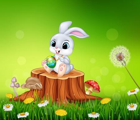 eater: Vector illustration of Cartoon Easter Bunny painting an egg on tree stump in summer season background