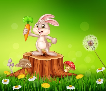 carrot tree: Vector illustration of Cute bunny holding carrot on tree stump in summer season background Illustration