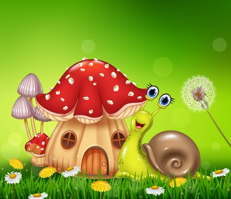 ornaments floral: Vector illustration of Happy snail with beautiful mushroom house Illustration