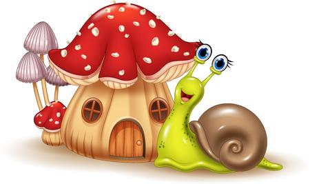 cochlea: Vector illustration of Beautiful mushroom house and happy snail cartoon