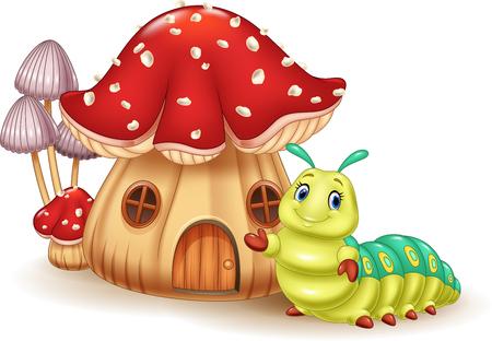 Vector illustration of Beautiful mushroom house and cute caterpillar