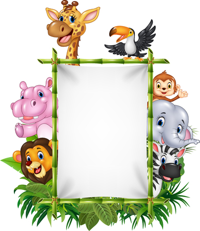 cartoon hippo: Vector illustration of African animal with blank sign with nature concept