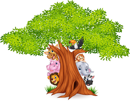 Vector illustration of Cartoon african animals with tree