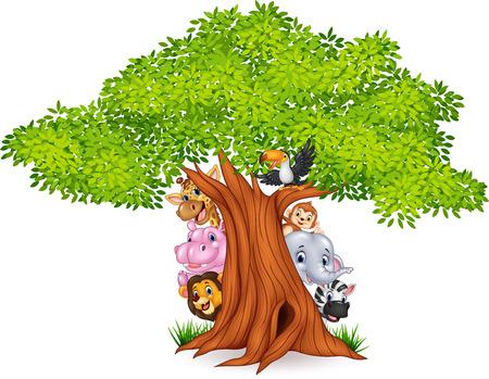 summer cartoon: Vector illustration of Cartoon african animals with tree