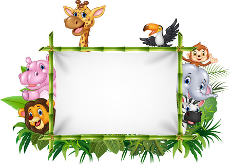 Vector illustration of Cartoon funny african animals with blank sign