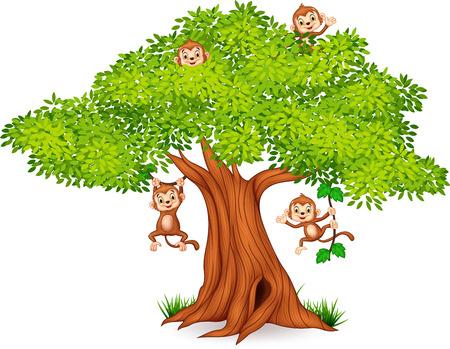 chimpances: Ilustración del vector de feliz pequeño mono colgando de los árboles