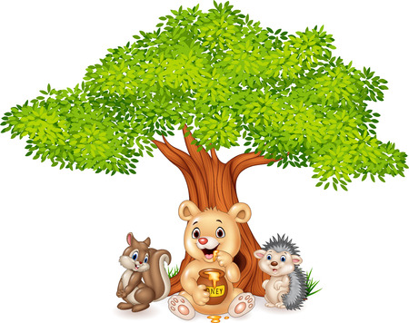 bush babies: Vector illustration of Cartoon funny animal on the tree