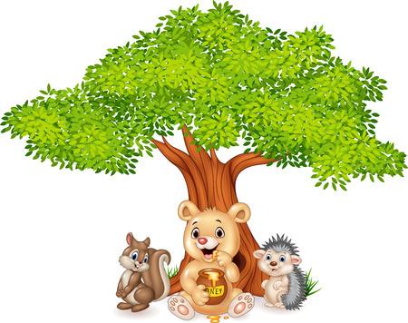 summer cartoon: Vector illustration of Cartoon funny animal on the tree