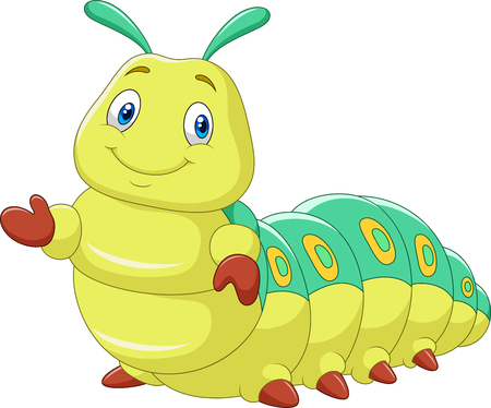 pupa: Vector illustration of Cartoon funny caterpillar presenting isolated on white background