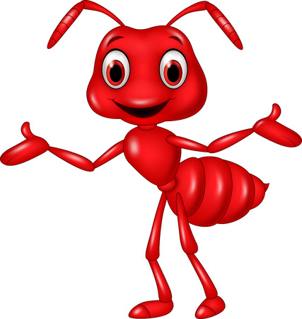 red ant: Vector illustration of Cartoon red ant waving isolated on white background