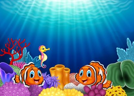 payaso: Ilustración del vector de peces payaso lindo y caballitos de mar en hermosa bajo el agua Vectores