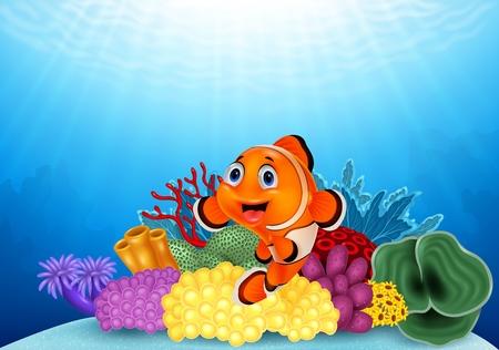 Ilustración del vector de feliz peces payaso con hermoso coral Ilustración de vector