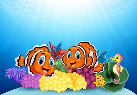 peces payaso: Ilustraci�n del vector de peces payaso de dibujos animados y caballito de mar con el paisaje submarino