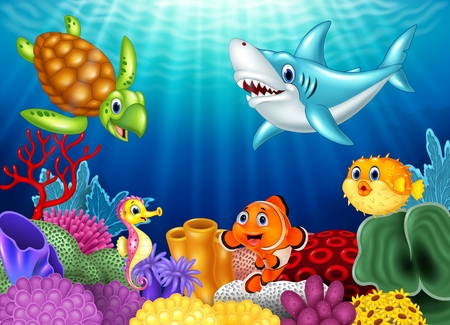 Vector illustration of Cartoon tropical fish and beautiful underwater world with corals