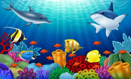 Vector illustration of Beautiful underwater world with corals and tropical fish.