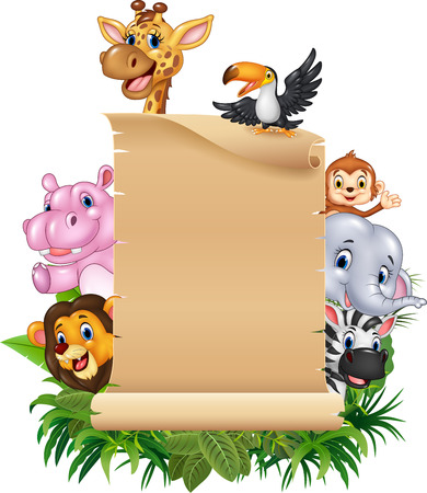 afrika: Vector illustration of Cartoon funny wild animal africa with blank sign