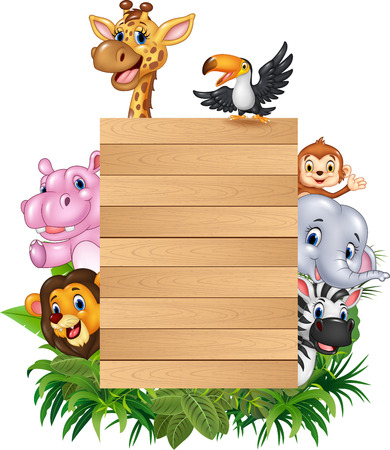 Vector illustration of Cartoon animal africa with wooden sign
