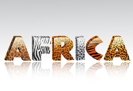 fur: Vector illustration of Word africa with animal fur and ethnic decoration