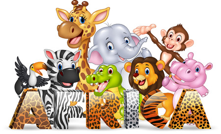 Vector illustration of Word Africa with cute wild animal Illustration