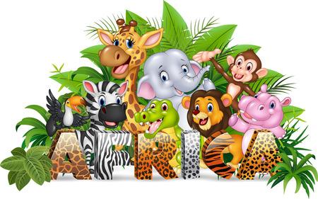 africa crocodile: Vector illustration of Word Africa with funny cartoon wild animal Illustration