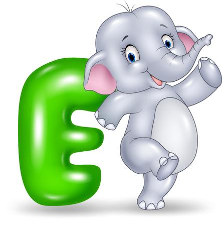 spelling book: Vector illustration of E letter for Elephant