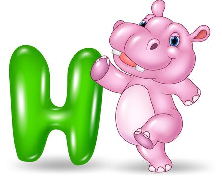 spelling book: Vector illustration of H letter for Hippo