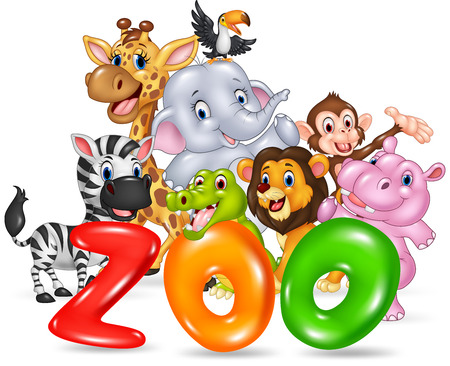 Ilustración del vector de la Palabra zoológico con animales de dibujos animados feliz África salvaje