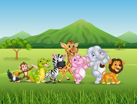 Vektor-Illustration von Cartoon des wilden Tieres Standard-Bild - 55515800