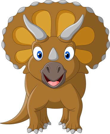 terrific: Vector illustration of Cute Triceratops three horned