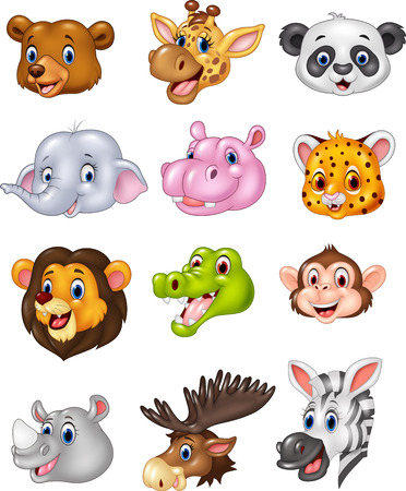 Vector illustration of Cartoon wild animal head collection Иллюстрация