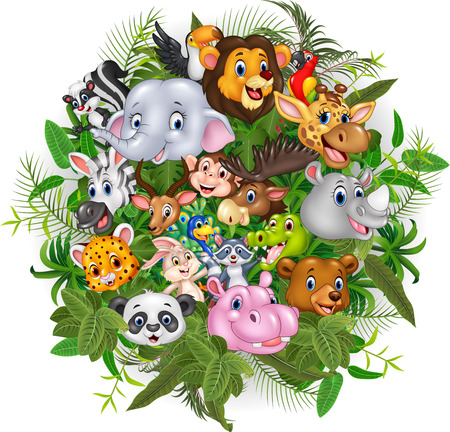 Vector illustration of Cartoon safari animals