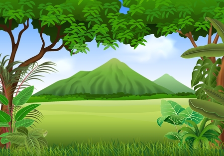 Vector illustration of beautiful natural landscape background