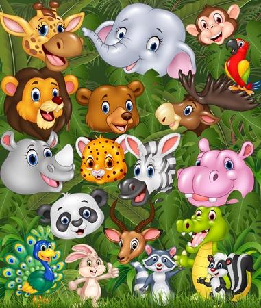 Ilustración del vector de los animales del safari de la historieta con el fondo del bosque
