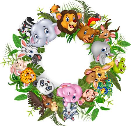 Ilustración vectorial de los animales de dibujos animados safari