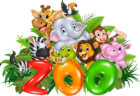 Vector illustration of Word zoo with cartoon wild animal Stock Illustratie