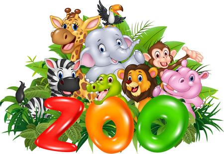 Vector illustration of Word zoo with cartoon wild animal Иллюстрация