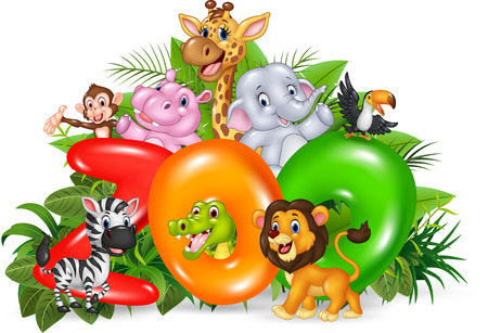 afrika: Vector illustration of Word zoo with cartoon wild animal Illustration
