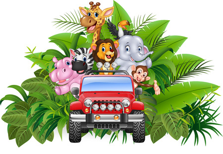 safaris: Vector illustration of Happy holiday animal africa in the red car