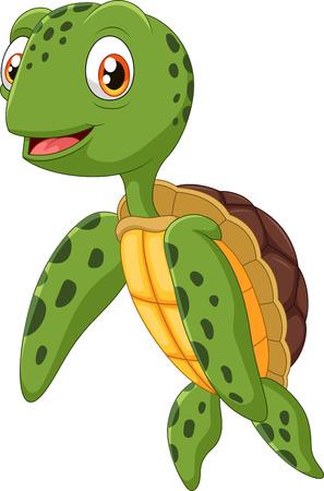 tortuga caricatura: Ilustraci�n del vector de la mano que agita lindo de la tortuga marina