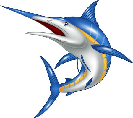 pez vela: Ilustración del vector de Marlin historieta de los pescados aislado en el fondo blanco