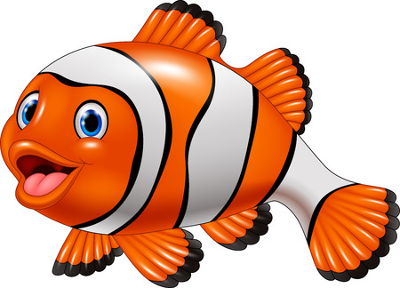 Vector illustration of Cute clown fish cartoon Ilustração