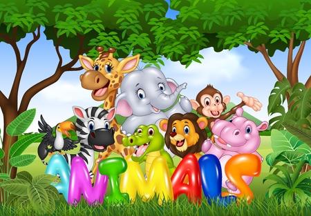 Ilustración del vector de la palabra animal con animales salvajes de dibujos animados Ilustración de vector